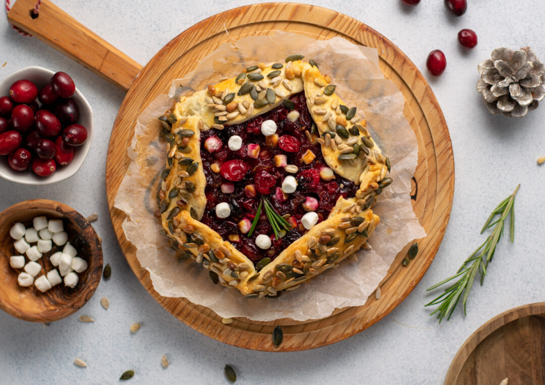 Cranberry galette with goat cheese